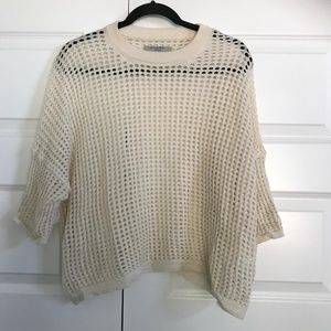 All Saints 100% Merino Wool Open Knit Boxy Sweater